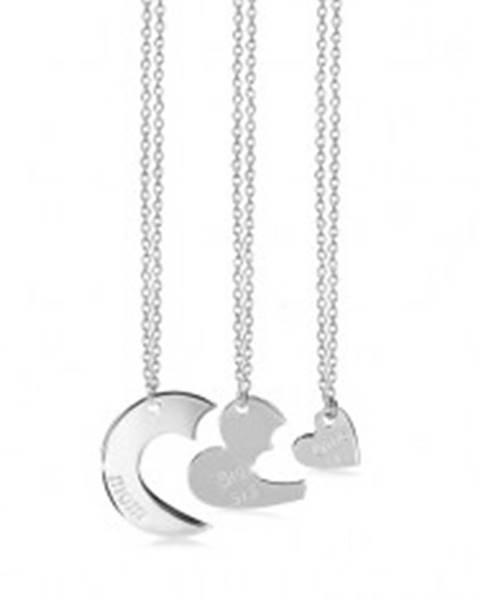 Trojset zo striebra 925 - tri náhrdelníky, kruh s výrezmi, srdiečka a nápisy