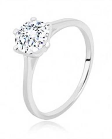 Zásnubný prsteň zo striebra 925 - úzke ramená, trojuholníky a zirkón, 7 mm - Veľkosť: 49 mm