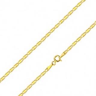 Retiazka v žltom zlate 585 - oválne očká so zárezmi a obdĺžnikom, 550 mm