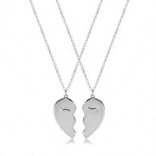 Set zo striebra 925 - dva náhrdelníky, rozpolené srdiečko so zažmúrenými očkami