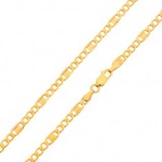 Zlatá retiazka 585 - tri oválne očká, článok s gréckym kľúčom, 550 mm