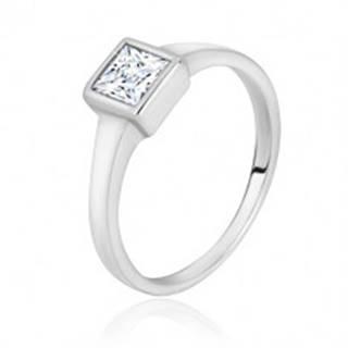 Strieborný prsteň 925 - úzke lesklé ramená, transparentný zirkónový štvorec - Veľkosť: 49 mm