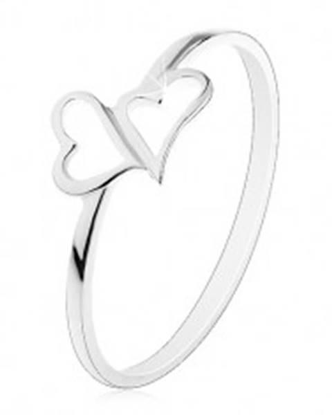 Strieborný prsteň 925 - dve asymetrické kontúry sŕdc, tenké ramená - Veľkosť: 54 mm