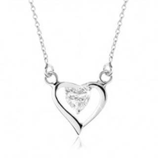 Strieborný náhrdelník 925, obrys asymetrického srdca, zirkónové srdiečko