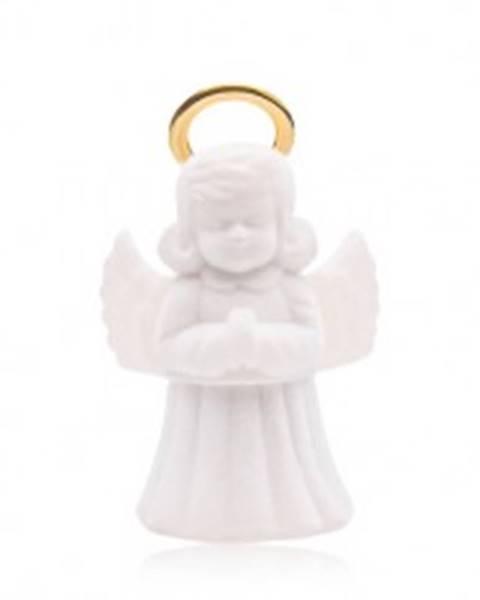 Krabička na prsteň alebo náušnice, biely zamatový anjelik so svätožiarou