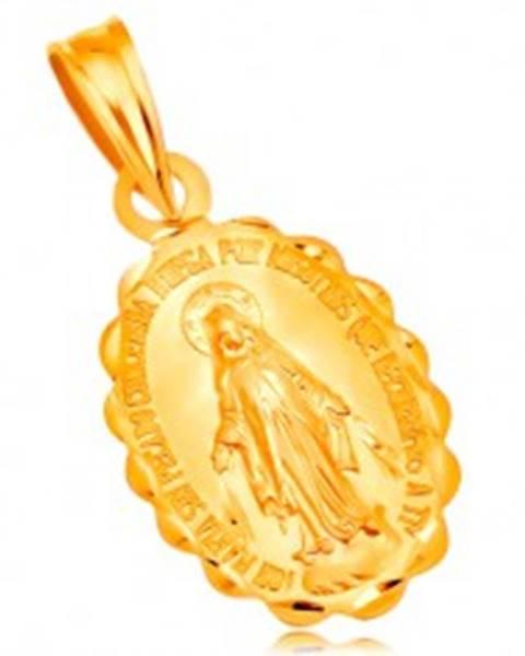 Prívesok zo žltého 14K zlata - oválny medailón Panny Márie, obojstranný