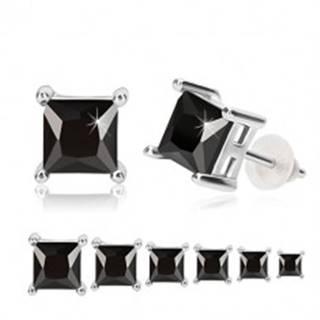 Strieborné náušnice 925 - čierny zirkón, štvorcový kotlík, puzetky - Veľkosť zirkónu: 3 mm