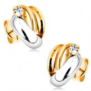 Zlaté diamantové náušnice 585 - lesklé dvojfarebné oblúky, číry okrúhly briliant