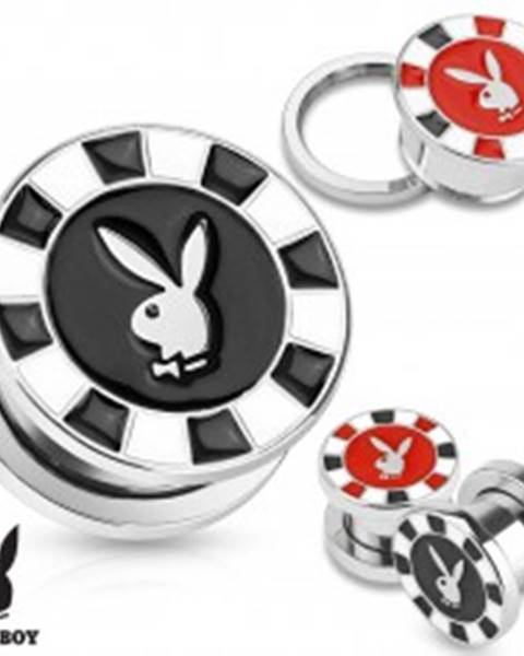 Tunel plug do ucha z ocele 316L, strieborná farba, zajačik Playboy - Hrúbka: 10 mm, Farba piercing: Čierna