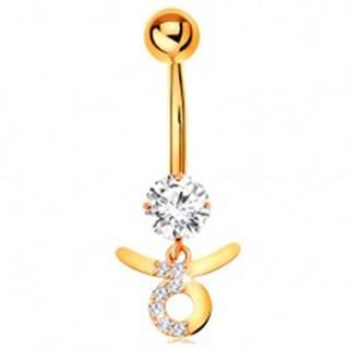 Piercing do pupku v žltom 9K zlate - číry zirkón, symbol znamenia BÝK