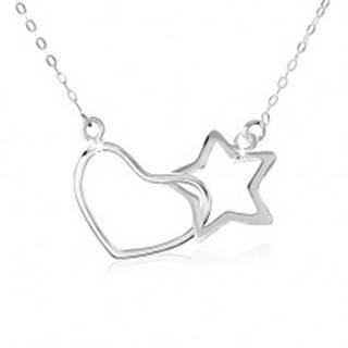 Strieborný náhrdelník 925, oválne očká retiazky, obrys hviezdy a srdca