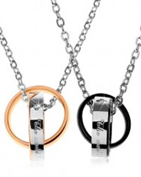 Dva oceľové náhrdelníky, dvojfarebné prepojené obrúčky, nápisy, zirkóny