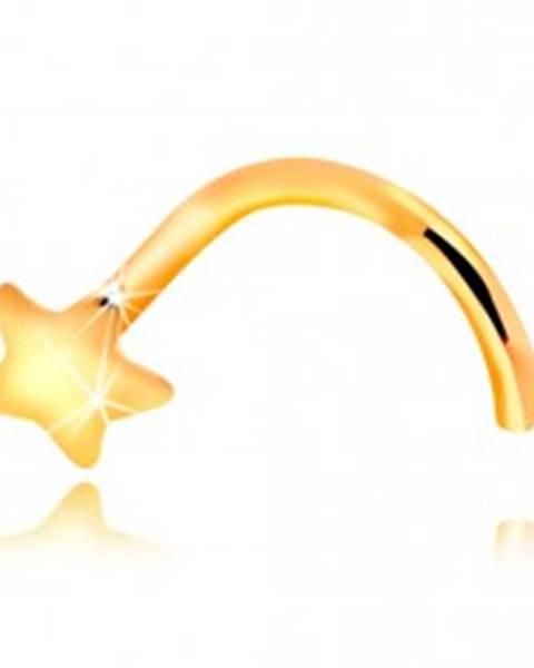 Piercing do nosa zo žltého 14K zlata - zahnutý, malá hviezdička