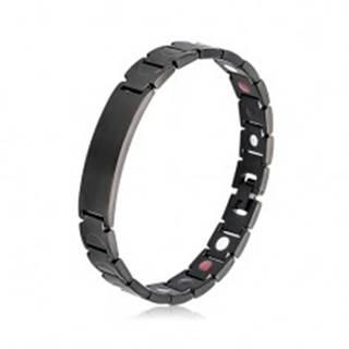 Oceľový náramok čiernej farby, matné Y-články, platnička, magnety