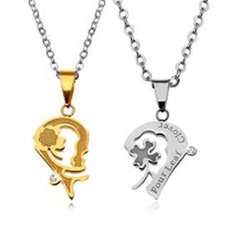 Sada náhrdelníkov z ocele 316L, srdiečkové prívesky so štvorlístkami a nápismi