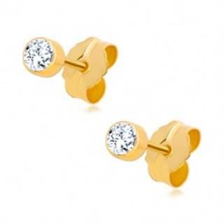 Zlaté 14K náušnice - okrúhly zirkónik čírej farby v objímke, 3 mm