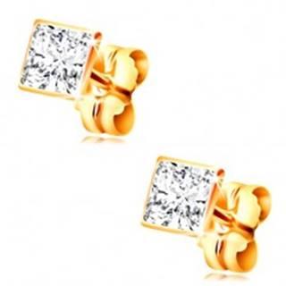 Zlaté puzetové náušnice 585 - štvorcový číry zirkón v objímke, 4 mm