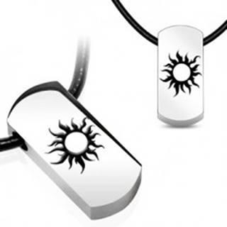Oceľový náhrdelník - slnko, čierna kožená šnúrka