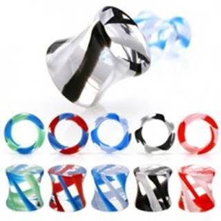 Plug do ucha sedlový, UV pyrex glass - Hrúbka: 10 mm, Farba piercing: Modrá - Zelená