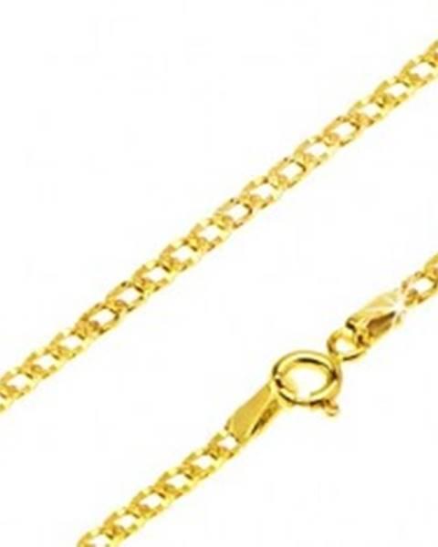 Retiazka v žltom 14K zlate - široké očká zdobené malými jamkami, 500 mm