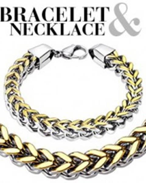 Sada - dvojfarebný oceľový náramok a náhrdelník, dva rady jednoduchých očiek