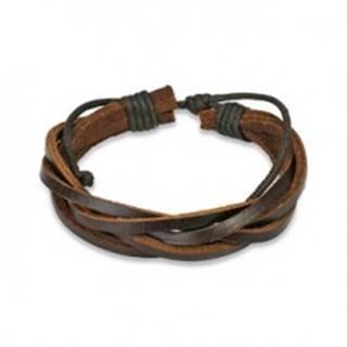 Kožený náramok - hnedý pletenec