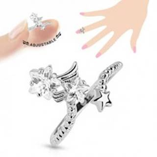 Ródiovaný prsteň na necht, číre zirkónové hviezdičky, nastaviteľný