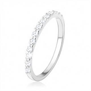 Strieborný 925 prsteň, trblietavá línia z okrúhlych čírych zirkónov - Veľkosť: 49 mm