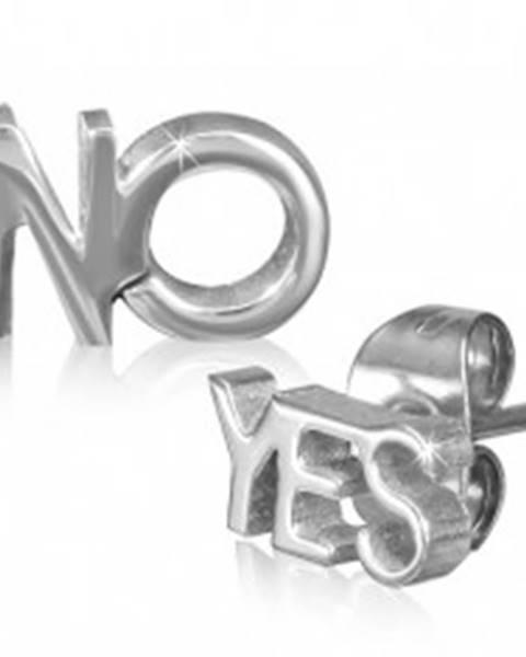 Oceľové náušnice s vysokým leskom, nápisy YES a NO, strieborná farba