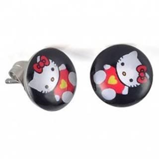 Puzetové náušnice z ocele, glazúra, mačička Hello Kitty na čiernom pozadí