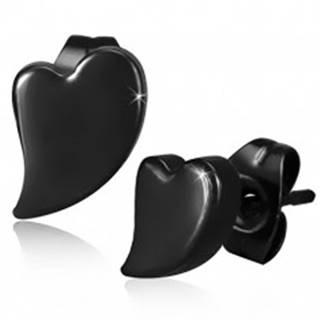 Puzetové oceľové náušnice, asymetrické srdce čiernej farby, vysoký lesk