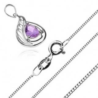 Strieborný 925 náhrdelník - retiazka z hustých očiek a fialová zirkónová slza