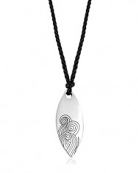 Čierny šnúrkový náhrdelník s oceľovými príveskom - veľké lesklé zrnko