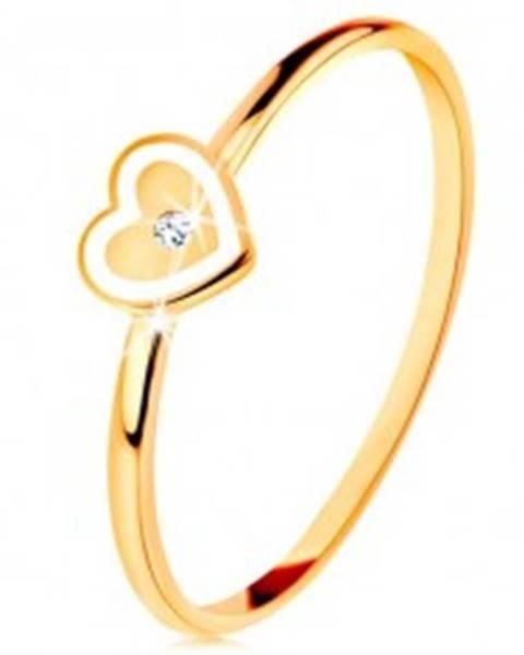 Prsteň v žltom 9K zlate - srdiečko s bielym okrajom a čírym zirkónikom - Veľkosť: 49 mm