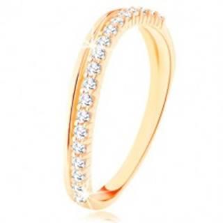 Prsteň zo žltého 9K zlata - hladká a číra zirkónová zvlnená línia GG115.42 - Veľkosť: 50 mm