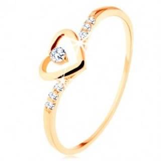 Zlatý prsteň 375, kontúra srdca s čírym zirkónikom, zdobené ramená - Veľkosť: 49 mm