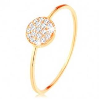 Zlatý prsteň 375 - tenké lesklé ramená, kruh vykladaný čírymi zirkónmi - Veľkosť: 50 mm