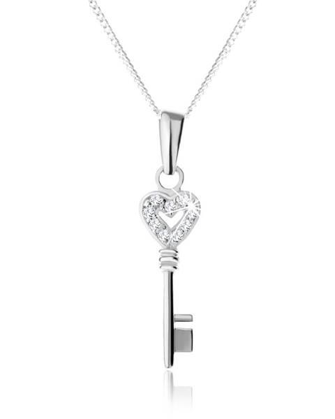 Nastaviteľný náhrdelník - striebro 925, prívesok kľúča so zirkónovým zdobením