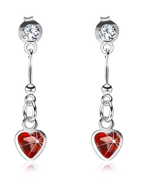 Náušnice zo striebra 925, červené srdce, palička s guličkou, číry Swarovski krištáľ
