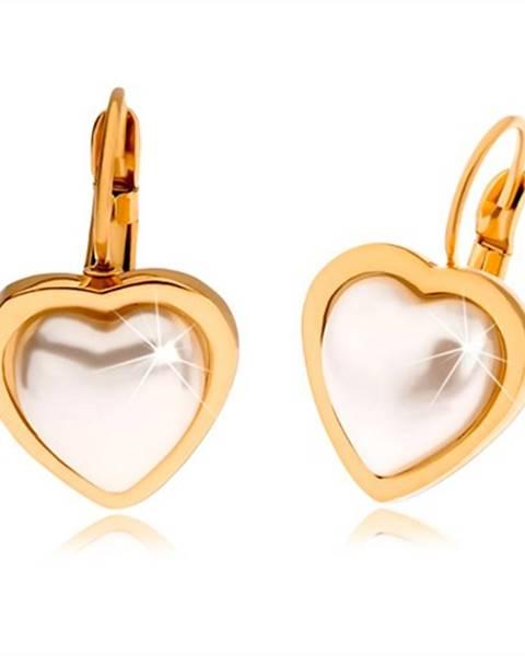 Oceľové náušnice zlatej farby, perleťovo biely kamienok tvaru srdca