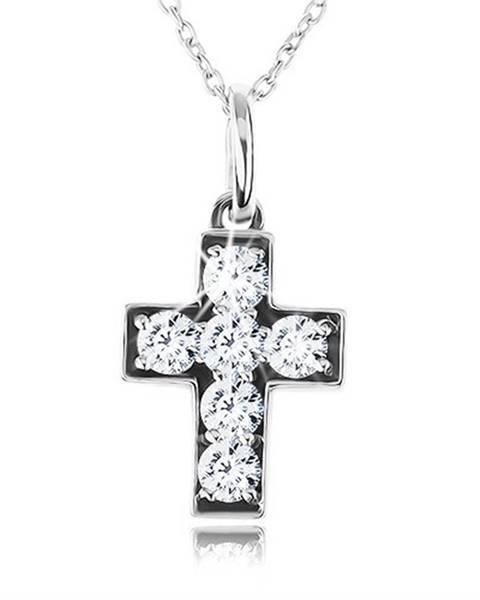 Strieborný 925 náhrdelník, retiazka s príveskom, latinský kríž zdobený zirkónmi