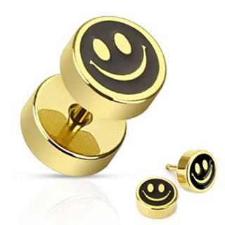 Fake plug do ucha z ocele - usmiaty smajlík čierno-zlatej farby