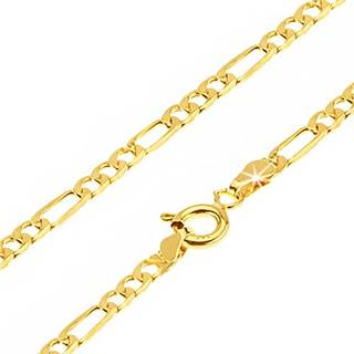 Retiazka v žltom 14K zlate - tri malé očká a jedno dlhšie, 450 mm