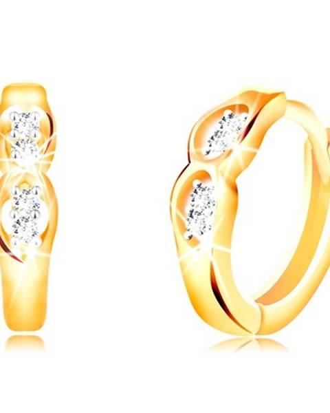 Kĺbové náušnice zo 14K zlata - dva oválne výrezy s čírymi zirkónmi