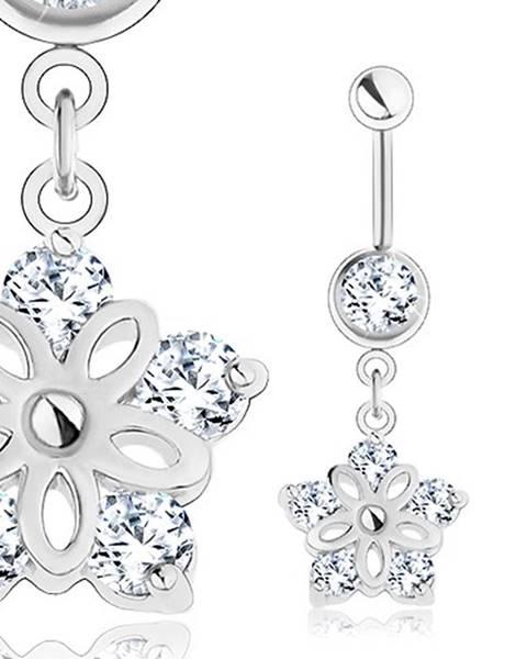 Oceľový piercing, strieborný odtieň, kvet s výrezmi, číre zirkóny