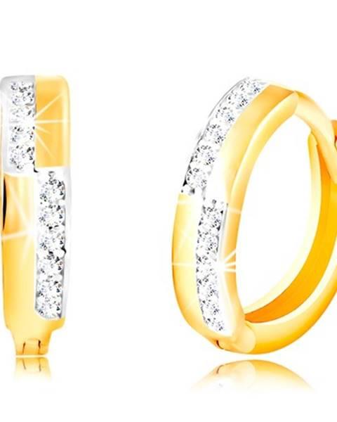 Okrúhle náušnice zo 14K zlata - hladké pásy a línie čírych zirkónikov