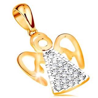 Dvojfarebný prívesok zo 14K zlata - anjel s vyrezávanými krídlami, číre zirkóniky