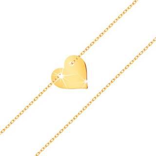 Náramok v žltom 14K zlate - malé súmerné ploché srdce, jemná retiazka