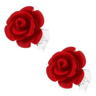 Náušnice s červenou rozkvitnutou ružou, striebro 925, puzetové zapínanie