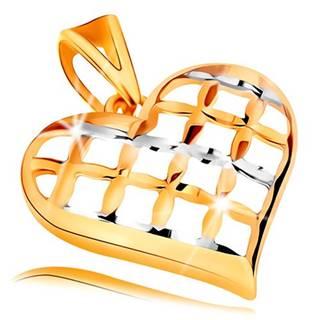 Prívesok v 14K zlate - lesklé mriežkované srdce v dvojfarebnom prevedení